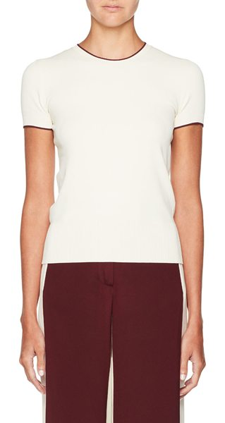 Valentino Tipped Short-Sleeve Sweater in ivory - Valentino sweater with contrast tipping. Crew neckline....