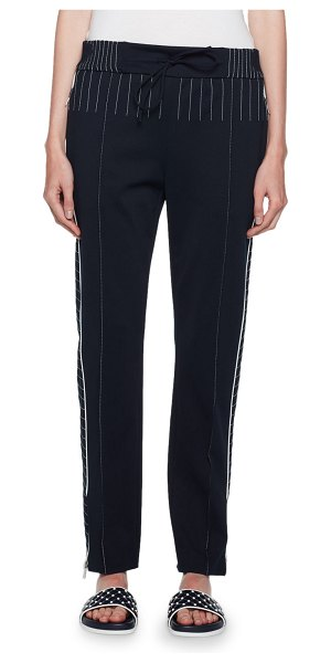 Valentino Topstitched Techno Jersey Track Pants in blue/white - Valentino techno jersey track pants with contrast...