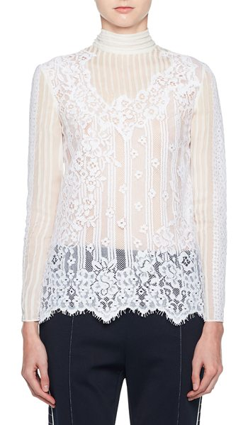 Valentino Turtleneck Long-Sleeve Chiffon Lace Blouse in white - Valentino blouse in sheer chiffon lace. Turtle neckline....