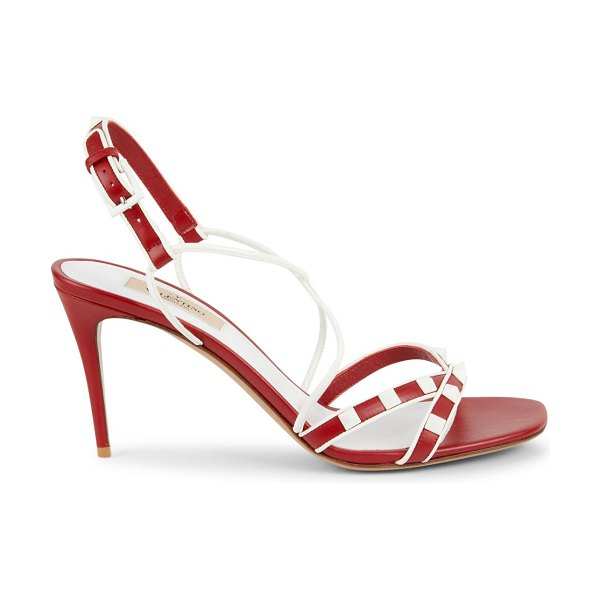 Valentino Two-Tone Strappy Leather Sandals in rosa