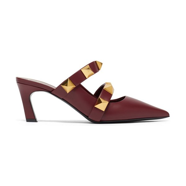 Valentino roman stud point-toe leather mules in burgundy
