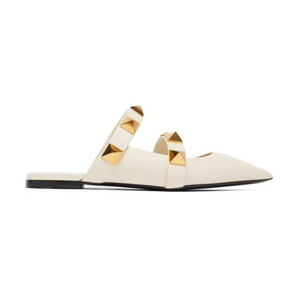 Valentino upstud point-toe leather mules in ivory