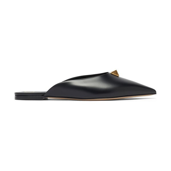 Valentino upstud point-toe leather mules in black
