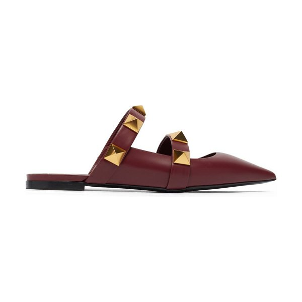 Valentino upstud point-toe leather mules in burgundy