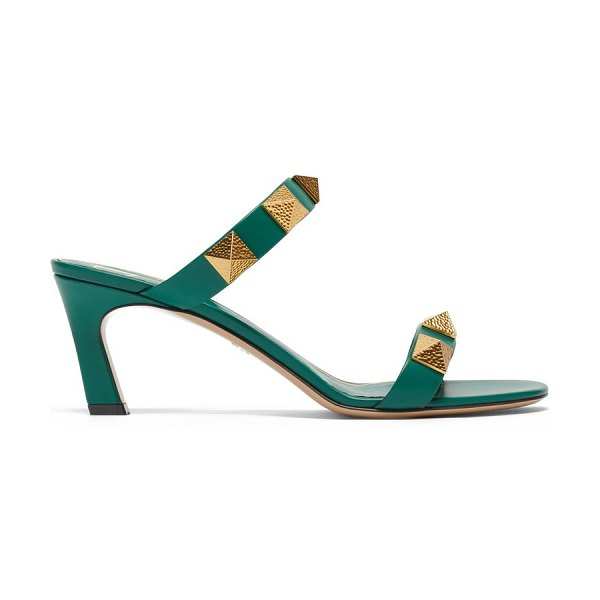 Valentino upstud point-toe leather sandals in green
