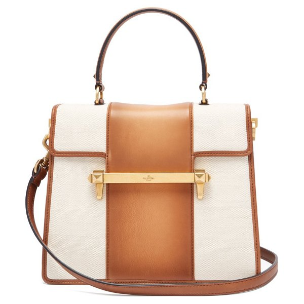 Valentino uptown leather top handle bag in tan multi