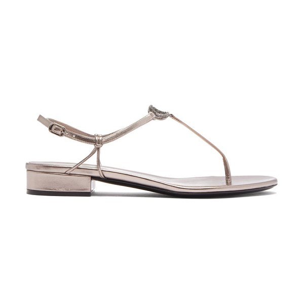 Valentino v-logo crystal and leather sandals in grey