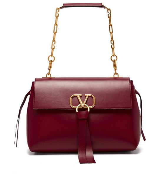 Valentino v ring medium leather shoulder bag in burgundy - Valentino - Valentino's sophisticated burgundy leather...