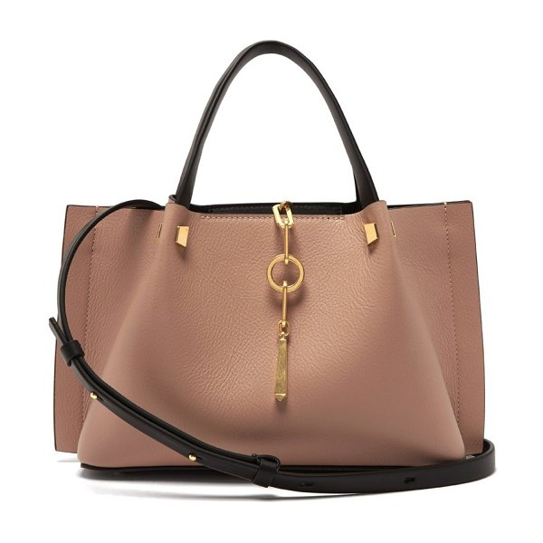 Valentino v ring small leather tote bag in nude - Valentino - Valentino's blush pink tote bag is subtly...