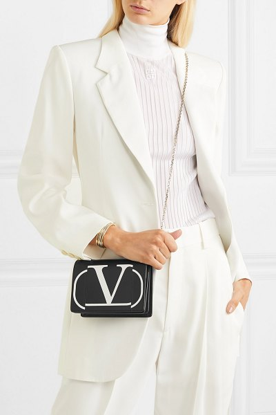 Valentino valentino garavani printed leather shoulder bag in black - Made in Italy from smooth black leather, Valentino...