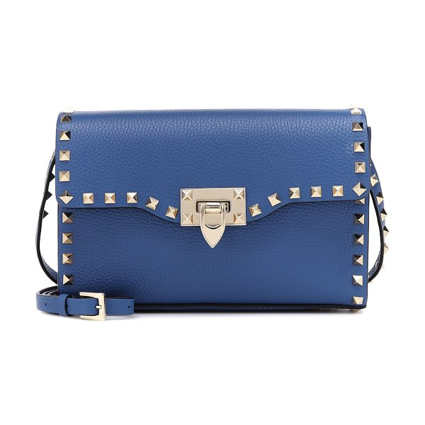Valentino valentino garavani rockstud small leather crossbody bag in blue - Valentino Garavani's Rockstud crossbody has been crafted...