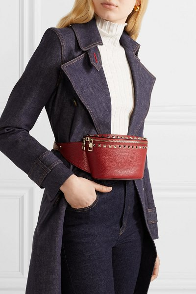 Valentino valentino garavani the rockstud textured-leather belt bag in red