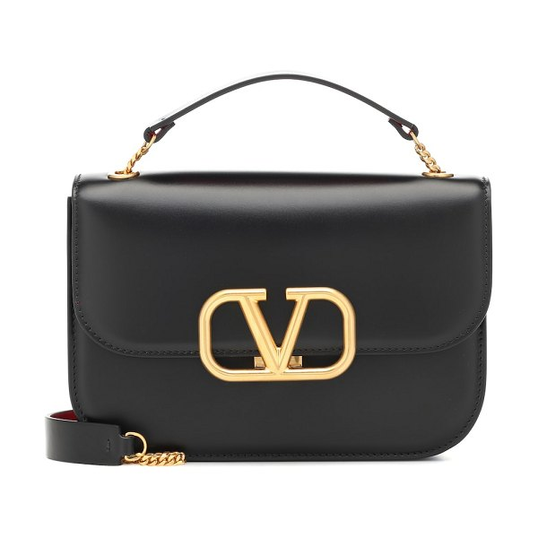 Valentino valentino garavani vlock small leather shoulder bag in black