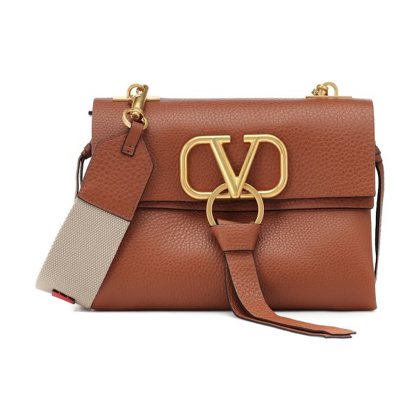 Valentino valentino garavani vring small leather shoulder bag in brown