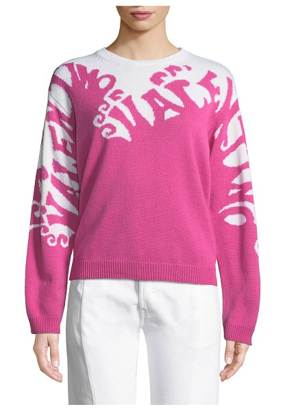 Valentino Valentino-Waves Long-Sleeve Cashmere Sweater in pink - Valentino sweater with logo waves intarsia knit. Crew...
