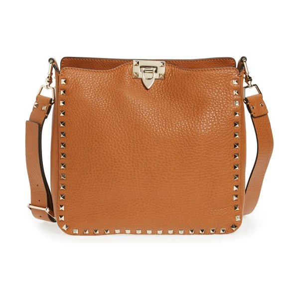 Valentino rockstud leather hobo in cognac