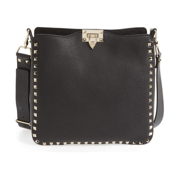 Valentino rockstud leather hobo in nero
