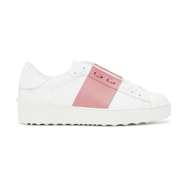 Valentino white and pink open sneakers in h59 white,flamingo p