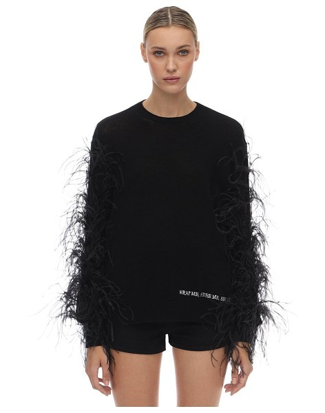 Valentino Wool blend knit sweater w/ feathers in black