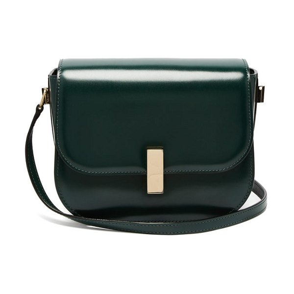 VALEXTRA iside cross body leather bag in dark green