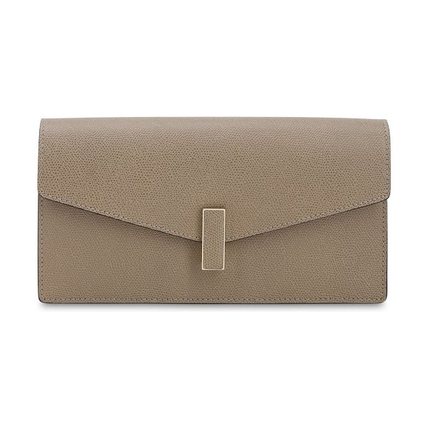 VALEXTRA Iside grained leather clutch in oyster