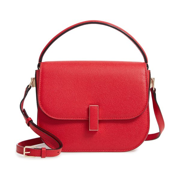 VALEXTRA iside leather top handle bag in red