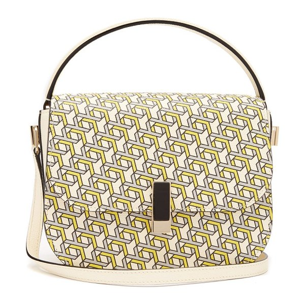 VALEXTRA iside xy print leather cross body bag in yellow multi - Valextra - The yellow and grey XY print illustrating...