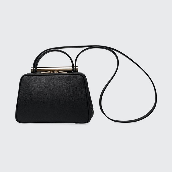 VALEXTRA Leather Top Handle Crossbody Bag in black
