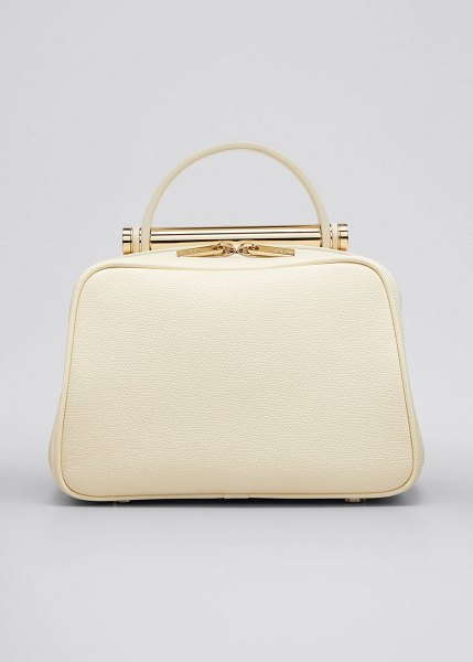 VALEXTRA Leather Top Handle Crossbody Bag in white
