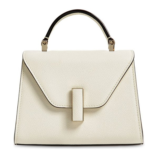VALEXTRA Micro iside grained leather bag in pergamena