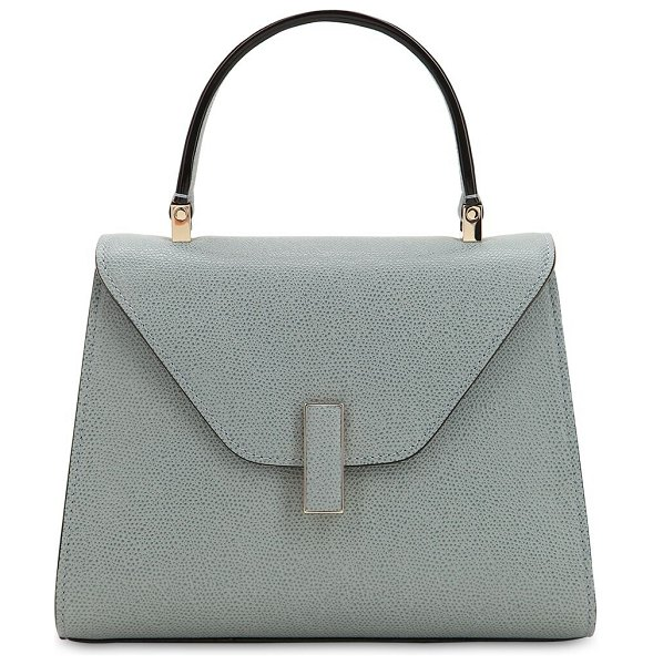 VALEXTRA Mini iside grained leather bag in polvere