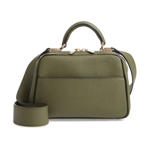 VALEXTRA mini serie s leather top handle bag in verde militare