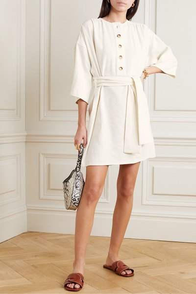 Vanessa Bruno naomi belted linen and silk-blend mini dress in cream