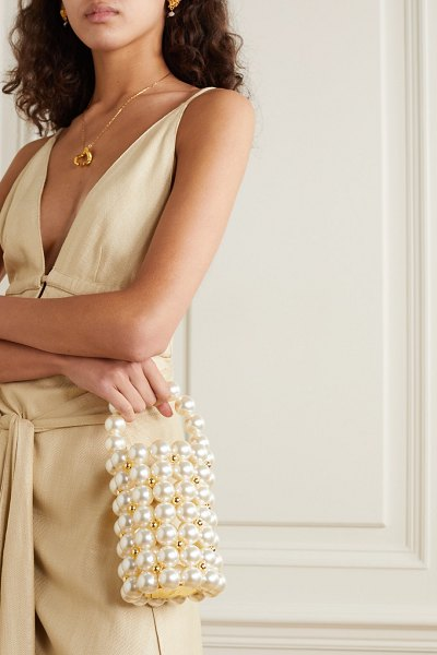 Vanina le comino faux pearl and gold-tone beaded tote in white