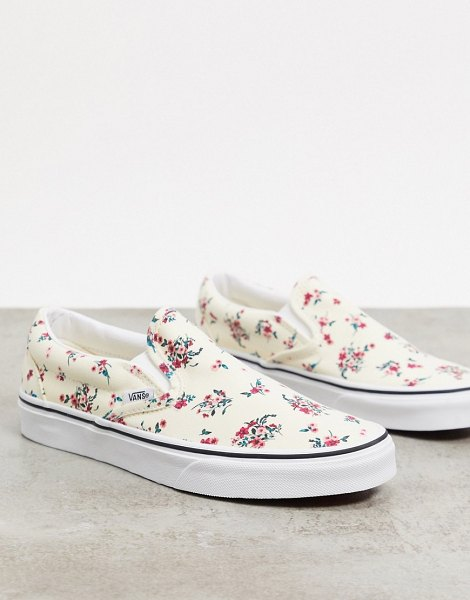 Vans classic floral slip-on sneakers in white in white