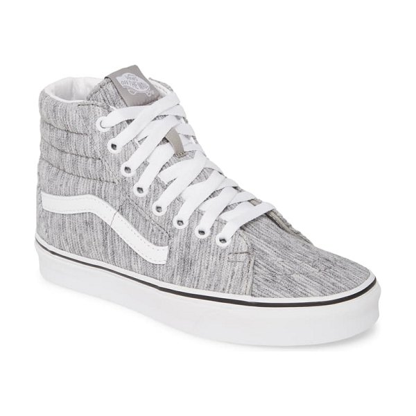 Vans sk8-hi knit platform sneaker in grey/ true white