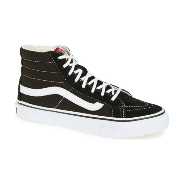 Vans sk8-hi slim high top sneaker in black true white