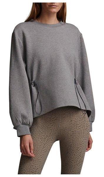 Varley Bella Toggle-Waist Sweatshirt in gargoyle marl