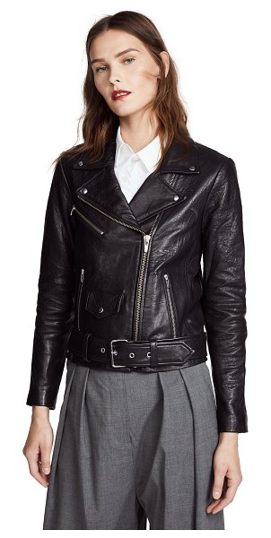 Veda jayne classic leather jacket in black