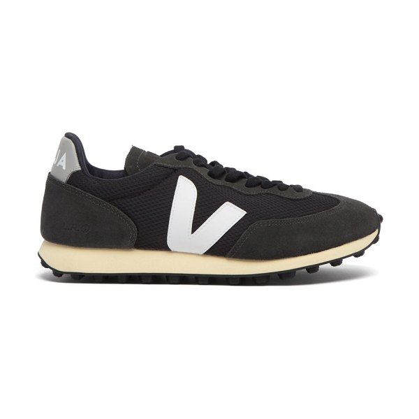 VEJA rio branco suede-panelled mesh trainers in black white