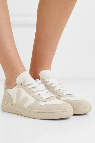 VEJA v-10 mesh, suede and leather sneakers in white - Veja has won us all over with its minimalist silhouettes...