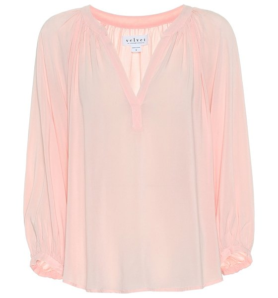 """Velvet kady jersey blouse in pink - """"This Kady blouse from Velvet has been crafted from..."""