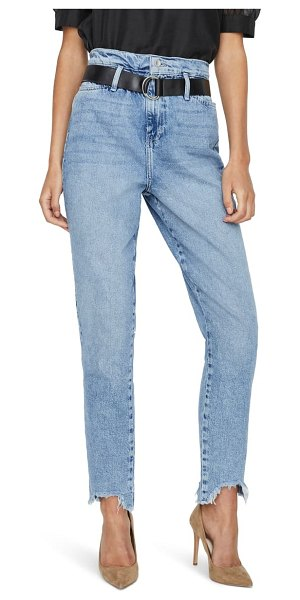 Vero Moda audrey high waist nibbled hem belted jeans in light blue denim
