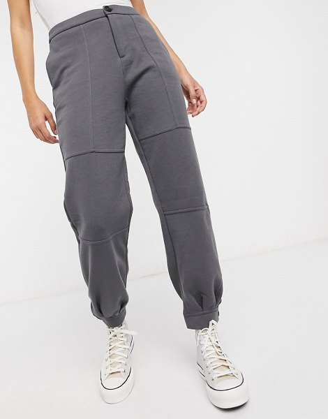 Vero Moda cuffed sweatpants two-piece in gray-black in black