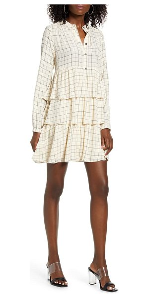 Vero Moda mirene windowpane check long sleeve tiered babydoll dress in birch with black checks
