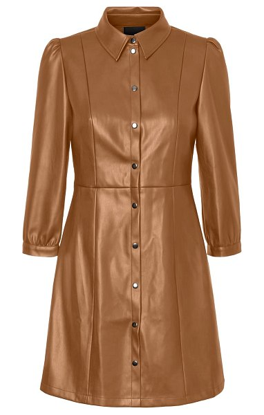 Vero Moda molly butter faux leather dress in tobacco brown