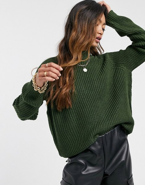 Vero Moda sweater with high neck in dark green in green