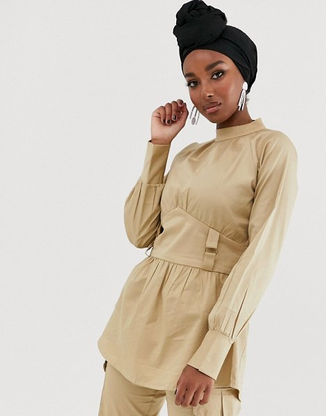 Verona high neck long sleeve blouse with utlity detail two-piece in stone