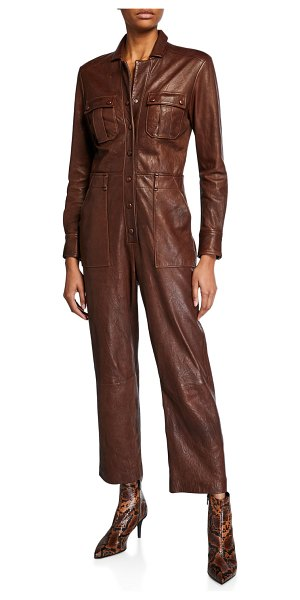 Veronica Beard Artemis Leather Utility Jumpsuit in brown
