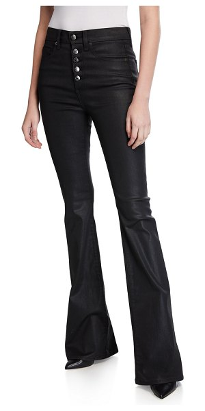 Veronica Beard Beverly High-Rise Flared Button-Front Jeans - Extended Sizes in black